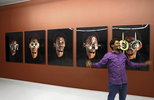 New vision style: Kenyan artist Cyrus Kabiru and his installation at the Zeitz Museum of Contemporary Art. Picture: RUVAN BOSHOFF