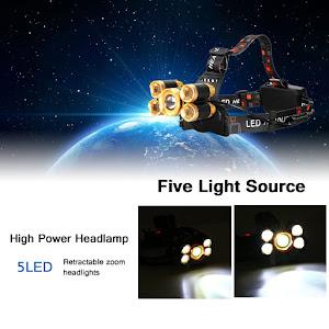 Lanterna de cap cu 5 LED, acumulator, 4 moduri iluminare
