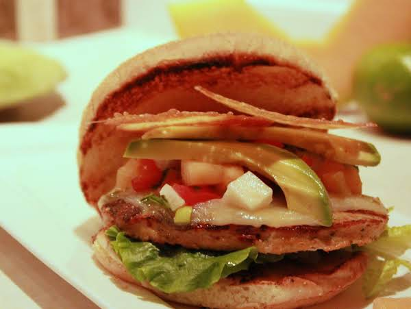 Chorizo-chicken Burgers With Cantaloupe-lime Salsa And Parmesan Frico Chips.