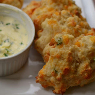 Cheddar Drop Biscuits with Chive Butter.