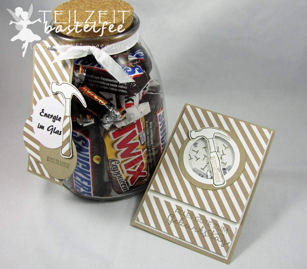 Stampin' Up! – In{k}spire_me #288, Sketch Challenge, Nailed it, Hammer, Framelits Werkzeugkasten, Build It Framelits Dies, Shaker Card, male card, Schüttelkarte, Männerkarte, Geburtstag, Birthday, Energie im Glas