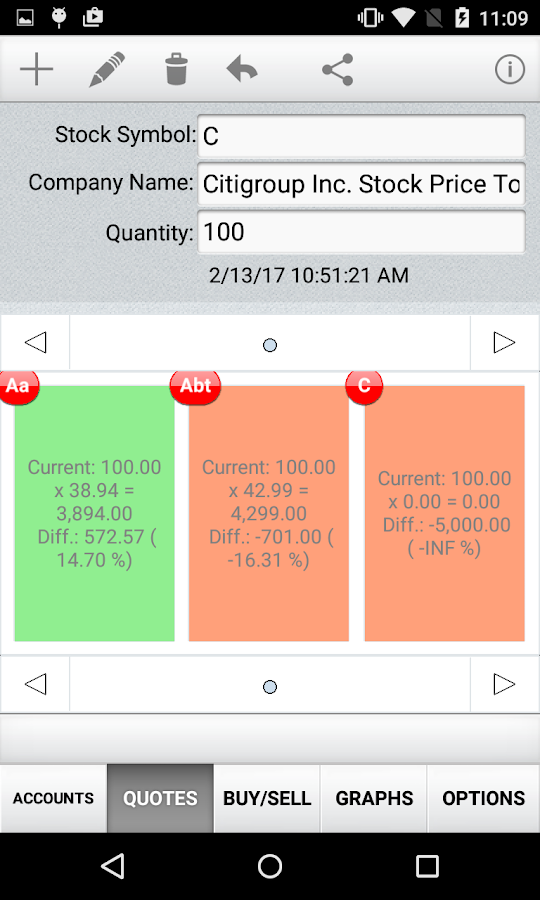 Quick Stock Quotes- screenshot