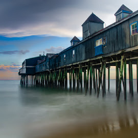 Old Orchard Beach During Blue Hour by Chris Cavallo - Buildings & Architecture Bridges & Suspended Structures ( sky, maine, pier, beach, sunset, atlantic ocean, blue hour, landscape, slow shutter )