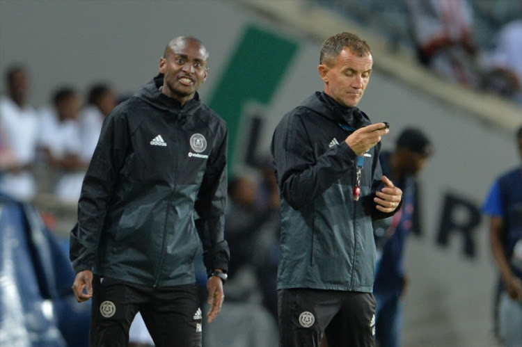 Orlando Pirates coach Milutin Sredojevic with assistant Rulani Mokwena.