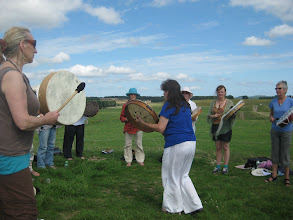 Photo: The wind, the people, the helicopters... everything was joining in as we played on the  first ancestor barrows... remembering the ancient circle of life