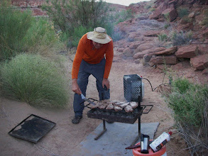 Photo: Mike char grills our steaks.