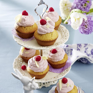 Vanilla Cupcakes with Raspberry Mousse.