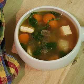 Roasted Vegetable, Tofu, White Bean and Kale Soup.