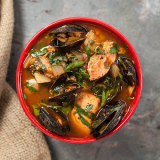 Summer Seafood Stew with Salmon and Mussels