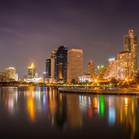 City Lights by Toni Laird - City,  Street & Park  Night ( reflection, skyline, lake, landscape, city, city at night, street at night, park at night, nightlife, night life, nighttime in the city,  )