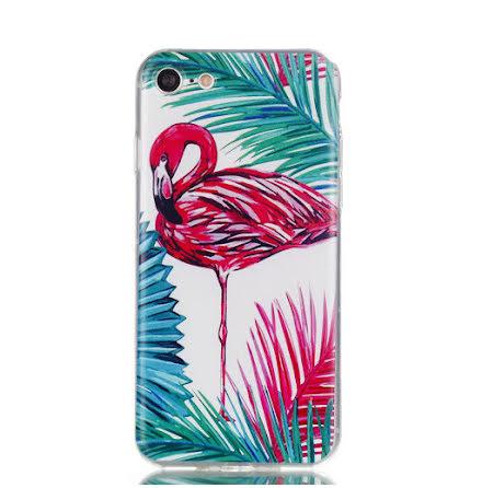 Palm Flamingo - Retroskal av silikon för iPhone SE 2020