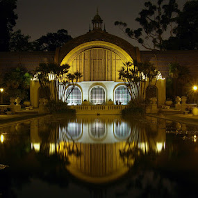 by Christopher Payne - Buildings & Architecture Other Exteriors ( park, balboa, pool, night, arboretum, botanical, garden, reflecting, reflect, lights,  )