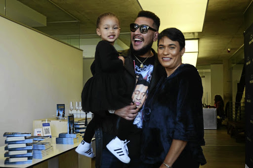 AKA with daughter Kairo and his mother Lynn Forbes came to support DJ Zinhle.