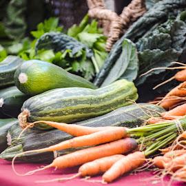 Vegetables at Farmer's Market by Tanya Greene - Food & Drink Fruits & Vegetables ( farmers market, farm stand, carrots, zucchini, fresh, vegetables, chard )