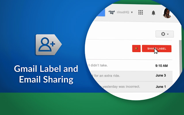 Gmail Label and Email Sharing Screenshot