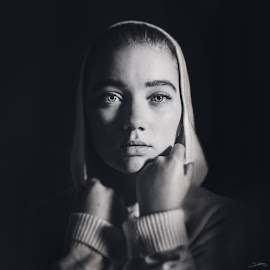 Sofie by Bendik Møller - People Portraits of Women ( black background, blackandwhite, model, monochrome, girl, black and white, woman, mono, portrait )