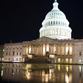 Capitol Building by Jorge Villalba - Buildings & Architecture Architectural Detail ( exposure, pwcarcreflections, hdr, reflections, contest, night, capitol hill, long )