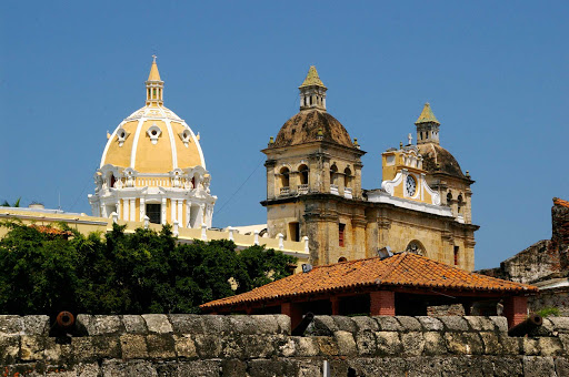 The Church of St. Peter Claver is right next to old fortifications in Cartagena, Colombia.