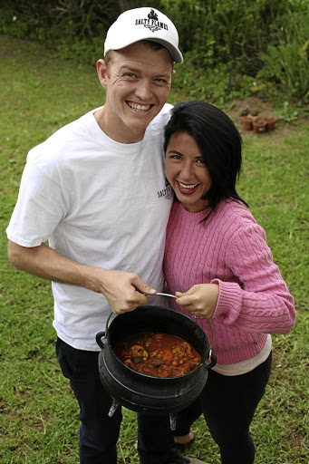 Chanel Marais and Nick Perfect with their Sweet curried vegetable potjie.