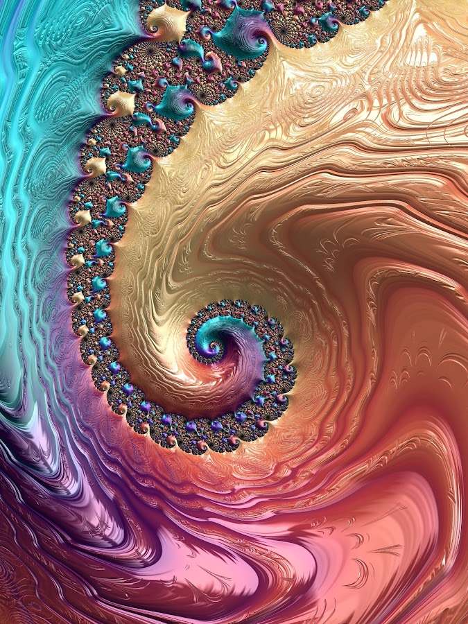Fraxallicious Spiral by Pam Blackstone - Illustration Abstract & Patterns ( orange, loops, spirals, purple, blue, curls, lines, yellow, fractal, buds )