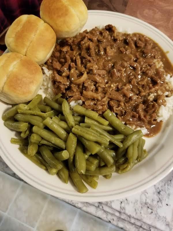 Beef & Gravy Over Rice