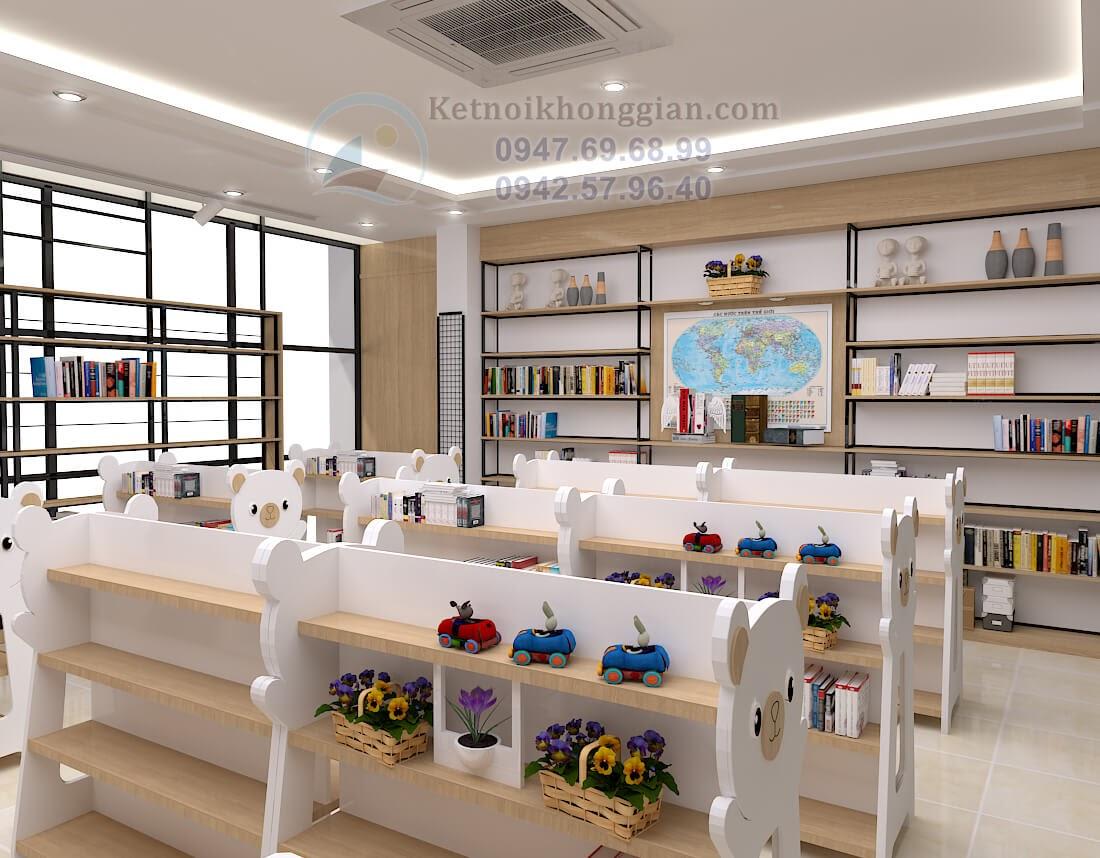 thiết kế nhà sách uy tín, thiết kế nội thất nhà sách ấn tượng