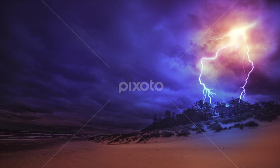 Thunder on Isolated House by Sushmita Sadhukhan - Landscapes Weather ( water, seashore, pwcfoulweather, dark, cloud, night, thunder lightening )