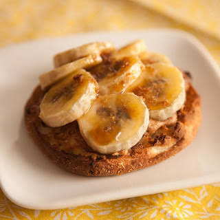 English Muffin with Bruléed Banana and Peanut Butter.