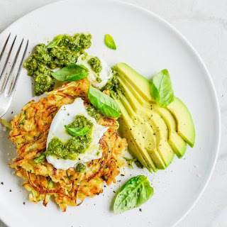 Brown Rice, Zucchini and Cabbage Fritters With Mozzarella, Avocado and Pesto.