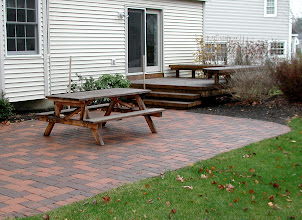 Photo: Roman Cobble (Brown Flash) Pressure-treated deck and benches http://northernlightslandscapecontractors.com