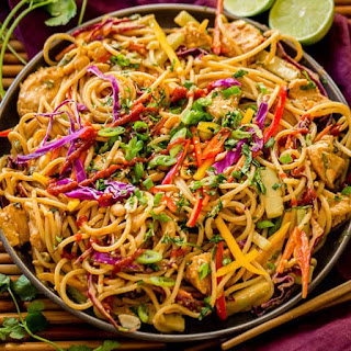 Thai Peanut Sauce Noodles and Chicken.