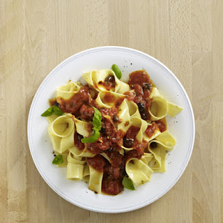 Spicy Tomato and Olive Pappardelle.