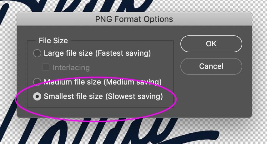 PNG Format Options dialog
