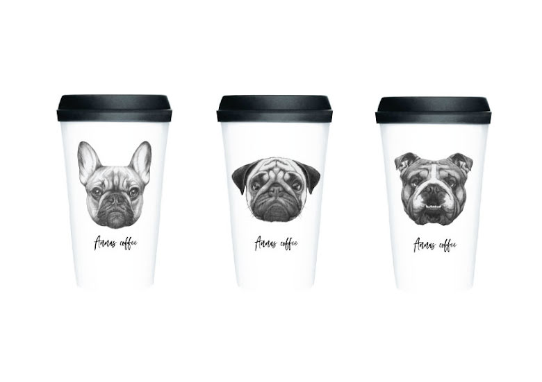 PERSONLIG TAKE AWAY CUP - HUNDILLUSTRATIONER
