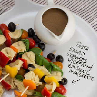 Pasta Salad Skewers with Creamy Balsamic Vinaigrette.