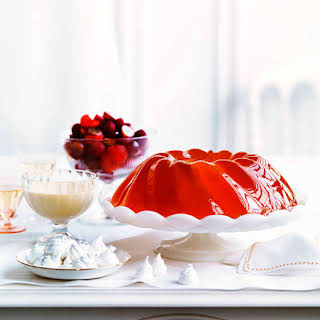 Champagne Jelly With Raspberries.