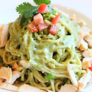 Pasta and Avocado Cilantro Lime Sauce with Chicken