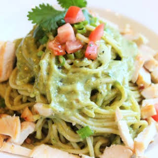 Pasta and Avocado Cilantro Lime Sauce with Chicken.