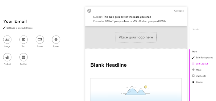 Visual Builder header and first section layout.