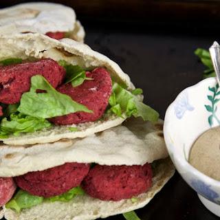 Beetroot Falafel In Pitta Pockets with Tahini Dressing - Vegan