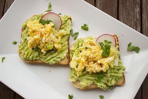 Avocado, Breakfast, Bread, Toast, Egg