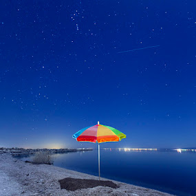 Moon Light  by John CHIMON - Landscapes Starscapes ( canon, cali, waterscape, beach, landscape, digital, nightstars, sky, toxic, nightsky, bluesky, bluewater, salton, light, water, desert, california, colors, beautiful, umbrella, sea, saltonsea, lake, slar, socal, blue, color, stars, night, westcoast, longexposure )