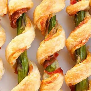 Prosciutto Wrapped Asparagus Puffs.