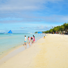family at the beach by Philip Familara - Landscapes Beaches ( whitesand, beaches, tourist, boracay, summer, islands, tourism, beach, philippines, island,  )