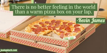 """There is no better feeling in the world than a warm pizza box on your lap."""