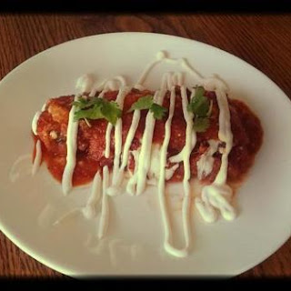 Anaheim Chili Relleno With Chorizo Cheese Sauce.