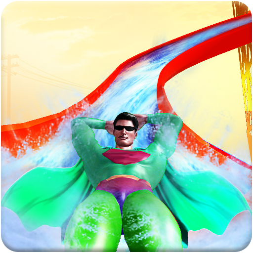 Real Super Hero Water Slide Uphill Amusement Park