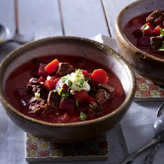 Red Beet Goulash Soup with Spicy Asian Gremolata.
