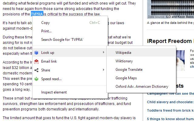 Look Up Wikipedia, Google Translate & Maps