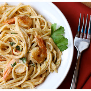 Shrimp and Pasta in Tomato-Chile Cream Sauce.